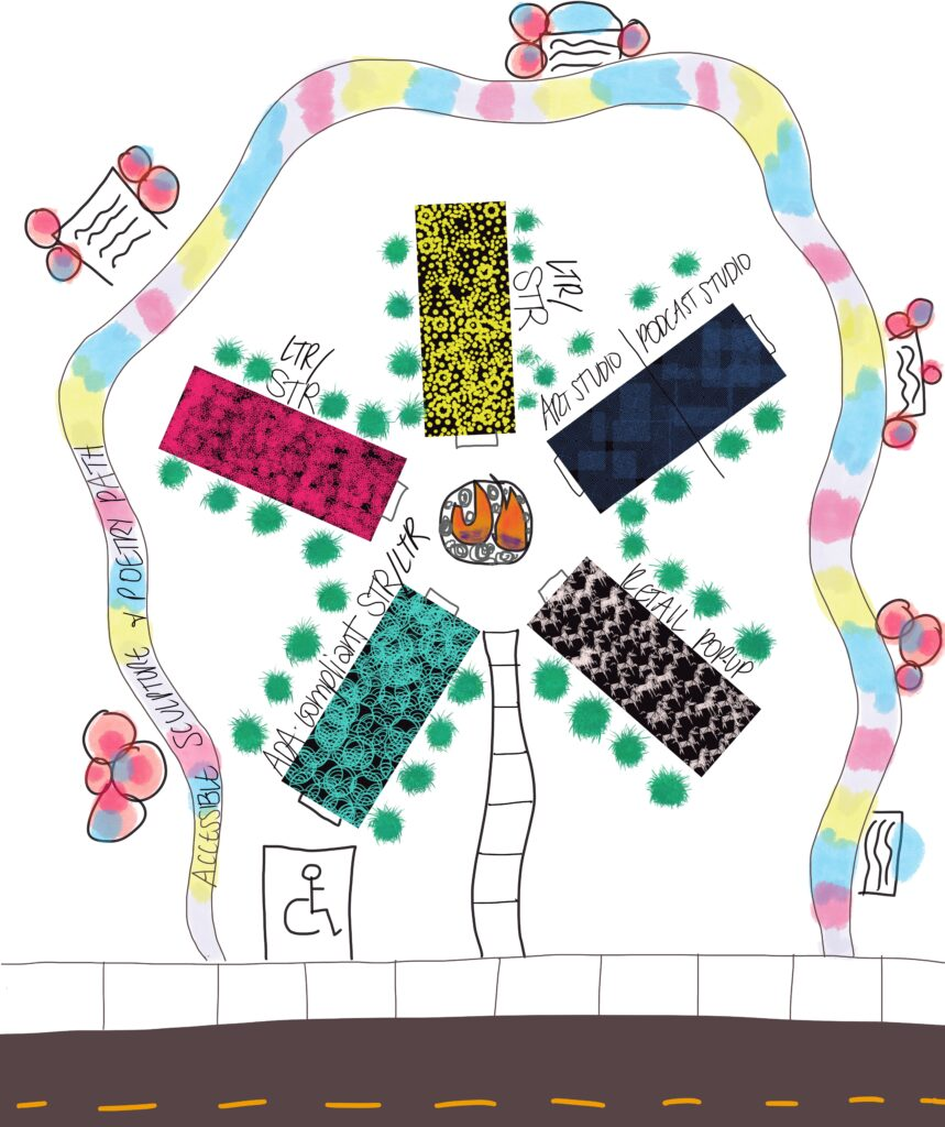 sketch of aerial view of painted shipping container structures on community lot