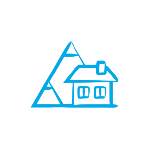 house by mountains icon