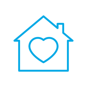 house outline with heart inside icon